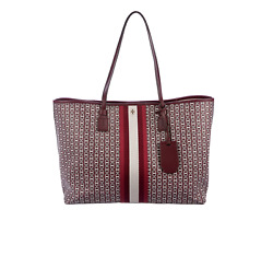 NEW Tory Burch Large Convertible Coated Canvas Gemini Link Tote Red $169.00