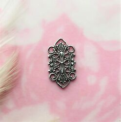 Antique Silver 4 Pieces Delicate Filigree Connector Stamping Finding B-308