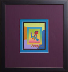 Peter Max Love Mixed Media Signed In Acrylic. Unique One Of A Kind. 2007