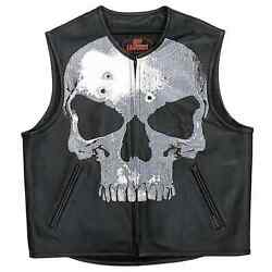 Hot Leathers Vsm2001 Menand039s Black Andlsquojumbo Skullandrsquo Conceal And Carry Leather Vest