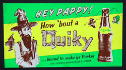 1960's Vintage Quiky Paper Poster Advertising Sign With Bottle Image By Cott