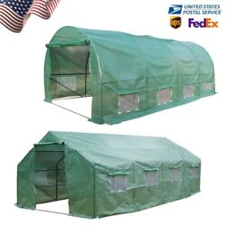 20'x10'x7' Portable Greenhouse Large Walk-in Green Hot Steel House Fast Growing