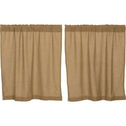 New Primitive Country Farmhouse Tan Natural Burlap Tiers Cafe Curtains 36
