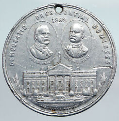 1892 Democratic Nominees President Cleveland Columbus Dollar Medal Coin I90722