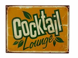 Tin Sign Cocktail Lounge Diner Bar Pub Long Drink Fizz 9 13/16x13in New