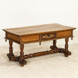 Antique Coffee Table With Spindle Trestle Base Spain