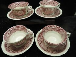 Globe China.vista Red - Pink 4 Cup And Saucer Sets .mint