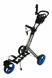 360 Swivel 3 Wheel Push Pull Golf Cart With 360 Rotating Front Charcoal/blue