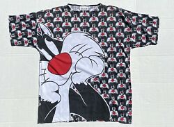 Vintage Sylvester The Cat All Over Print Double Sided Tshirt Single Stitch Usa