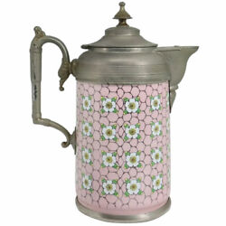 Antique American Manning, Bowman And Co Pewter Trimmed Graniteware Pink Coffee Pot