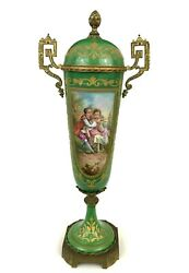 Atq Sevres Style French Green Porcelain Urn Ormolu Brass A. Gilbert Signed 16and039and039