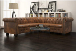 Inlife Chesterfield Corner Sofal Shape 5-seater Sectional Sofa For Living Room