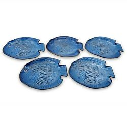 5 Uttermost Blue Fish Shaped Platter / Plate Serving Dish With Embossed Scales