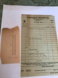 Carondelet Brewing Co. St. Louis Sales Ticket Clear Front/amounts On Back 1930andrsquos
