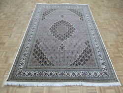 6and0399 X 10 Fine Hand Knotted Ivory Mahi Tabrez Oriental Rug Wool And Silk G9483