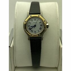 Ladies White Dial Black Leather Strap Automatic Watch 090734255