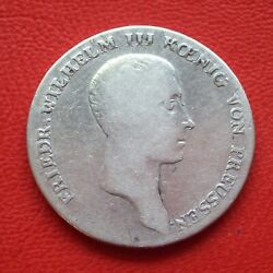 1 Thaler Prussia 1814 A S / Vf/friedr. Wilh. Iii / Silver/old Germany / Km 387
