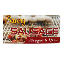 Vinyl Banner Multiple Sizes Savory Sausage With Peppers 7 Onions Outdoor