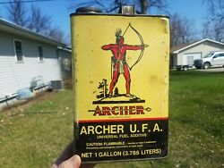 Vintage Archer 1 Gallon Oil Can Empty Gas Fuel Additive Great Graphics