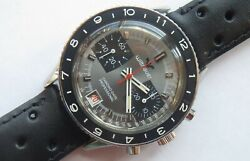 Wittnauer Chrono Date Professional Mens Wristwatch Steel Case All Original