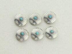 Sterling Silver Southwestern Turquoise Flower Button Covers Set Of 6
