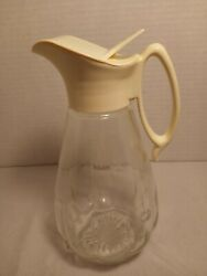 Vintage Log Cabin Syrup Dispenser - Glass With White Plastic Top