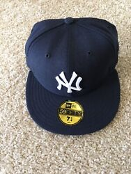 New Era New York Yankees Size 7 1/4 5950 59fifty Fitted Grey Bottom Ds On Field