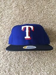 New Era Texas Rangers Size 7 1/8 5950 Hat Fitted Grey Bottom Ds On Field Cap Mlb