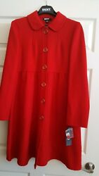 Vintage Nwt Cashmere And Wool Red Coat Dkny Women's Size 6 Macy's 495new