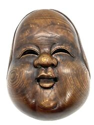 Antique Japanese Chinese Asian Hand Carved Wooden Fase Size Mask