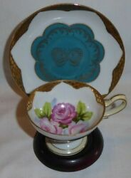 Vintage Pink Cabbage Rose And Butterfly W/ Gold Lattice Cup And Saucer - Japan