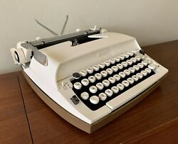 Sears Citation Portable Typewriter White With Case By Smith-corona See Video