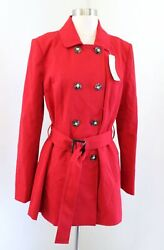 Nwt 41 Hawthorn Stitch Fix Crue Red Double Breasted Trench Coat Style Jacket M