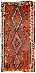 Handmade Antique Afghan Distressed Kilim 4.1and039 X 8.5and039 127cmx260cm 1900s - 1c699