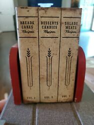 Vintage Wood And Tin Wall Mount Hinged Recipe Box Red And White