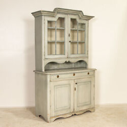Antique Blue Painted Swedish Cupboard China Cabinet