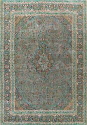 Antique Traditional Floral Area Rug Evenly Low Pile Gray Hand-knotted Wool 10x12