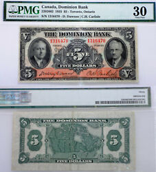5 1935 Dominion Bank . Chartered Canada Bank Note - Pmg Vf-30