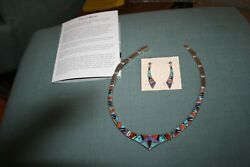 Sterling Silver Tsf Calvin Begay Multi-stone Inlay Bib Necklace And Earrings