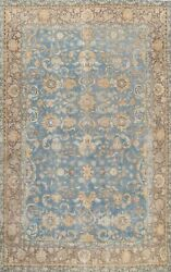 Vintage Floral Traditional Oriental Hand-knotted Area Rug Wool Blue Carpet 8x11