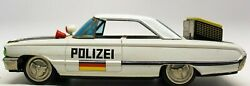 Vintage Japanese Tin 1960and039s Ford Galaxie Polizei 2-door Battery Operated Car