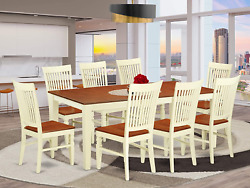 9 Pc Set With A Round Dinette Table And 8 Wood Seat Kitchen Chairs In Buttermilk