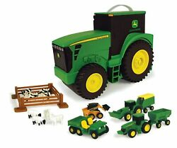 Tomy John Deere Durable Vehicle Toy Set For Kids With Tractor Shaped Portable...