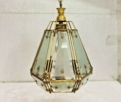 Old Vintage Rare Ceiling Hanging Electrical Glass / Brass Wire Lamp Collectible