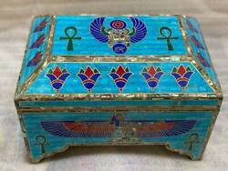 Antique Wood Jewelry Box Inlaid Gemstones And Shell