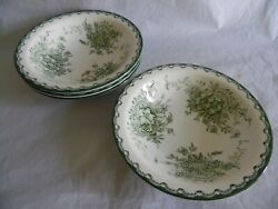 Gron Anna Sweden Rorstrand F555 4 Large Salad Soup Bowls Floral Green White