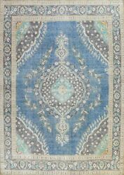 Antique Traditional Floral Oriental Evenly Low Pile Hand-knotted Area Rug 10x13