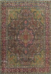 Vintage Traditional Floral Oriental Hand-knotted Evenly Low Pile Area Rug 10x13
