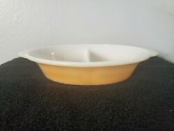 Vintage Fire-king Peach Luster Copper Tint 468 Oval Divided Casserole Dish