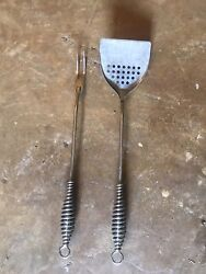 """Vintage Ecko Usa Mid Century Grill Spatula And Fork Bbq Barbeque Tool Set 17.5"""""""